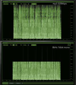 Сравнение mp3 320kbps и 8khz 16bit mono